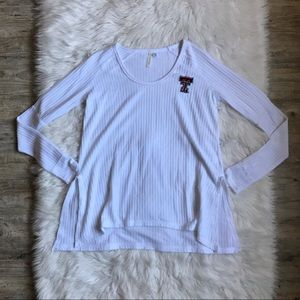 Texas Tech Long Sleeve White Knit Slit Shirt Small